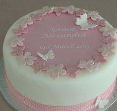 Christening cake decorating kit with pink gingham ribbon