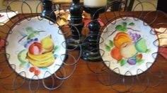 Beautiful set of Hand Painted Fruit Collector Plates in Black wire plate racks