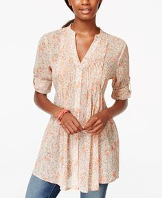 American Rag Printed Pintucked Button-Front Camp Shirt, Only at Macy's