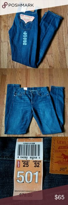 NWT Women's Levi's 501  25x32 Amazing pair of the classic 501 jeans tapered for women. Button fly. Size is 25 waist with a 32 inch inseam. Levi's Jeans Straight Leg