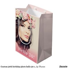 Custom 30th birthday photo hello 30 rose gold medium gift bag
