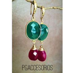 PG #pgaccesorios #chapadeoro #aretes #earrings #goldplated #handmadearrings #handmadejewerly #handmade #hechoamano #joyeria #joyas #calcedonia #piedrasnaturales