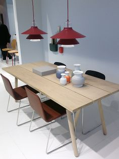 Ikono lamps by Simon Legald, Just chairs by Iskos-Berlin and Slice table top and Buk table legs, all from Normann Copenhagen.http://decdesignecasa.blogspot.it