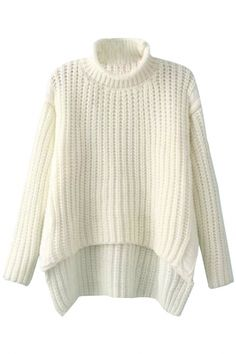 Street-Chic High Neck High-Low Sweater