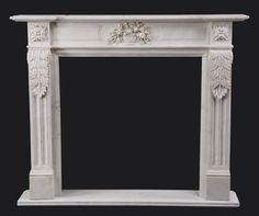 Louis XVI inspired hand carved marble mantel : Lot 254