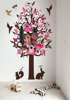 KEK Amsterdam Muursticker/Kapstok roze 120x220cm Birdhouse Tree XL muurfolie