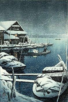 "Japanese Art Print ""Snow in Mukojima"" by Kawase Hasui. Shin Hanga and Art Reproductions http://www.amazon.com/dp/B00Y26HUHO/ref=cm_sw_r_pi_dp_ghbtwb1GW2RT6"