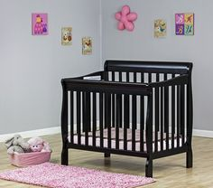 2015 Reviews of 10 mini cribs | Dream on Me Aden Mini Crib coverts to toddler bed