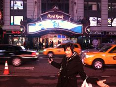 Jax outside the Hard Rock restaurant in Time Square