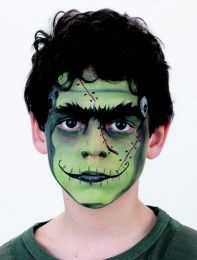 Turn your little ones into Frankenstein this Halloween with our step-by-step monster face paint guide that will impress at any Halloween party. See our other children's face paint ideas. Monster Face Painting, Face Painting For Boys, Face Painting Designs, Body Painting, Painting Steps, Frankenstein Face Paint, Frankenstein Halloween Costume, Halloween Meninas, Halloween Make Up
