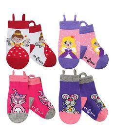 Look at this #zulilyfind! Pink & Purple Princess Socks Set  - Girls by EZ SOX #zulilyfinds