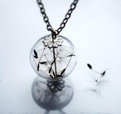 Dandelion Necklace 8 Specimen Wish Glass by NaturalPrettyThings