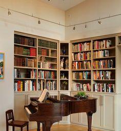 coole schienen beleuchtung bibliothek klavier