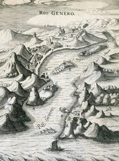 167- São Sebastião do Rio de Janeiro - ca. 1624<br /> <br /> 'RIO GENERO'.<br /> autor: não identificado.<br /> fonte: Gravura que ilustra o 'Reys-boeck van het rijcke Brasilien...'. Biblioteca Nacional, Rio de Janeiro.<br /> A gravura mostra a cidade do Rio de Janeiro em 1624 ou um pouco antes. O desenho é incluído, em uma mesma estampa, com o de São Vicente.<br /> Esta mostra os aspectos geográficos com impre-<br /> cisões semelhantes às de São Vicente e Santos, provavelmente devido às…