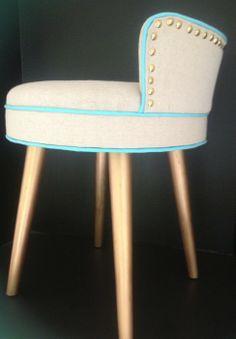 Reupholstered Vanity Stool using a dropcloth (back) via The Gracious Posse