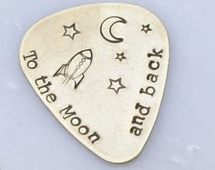 Personalized Guitar Pick - Brass Guitar Pick - Hand Stamped - Music Lovers - Gift for Him