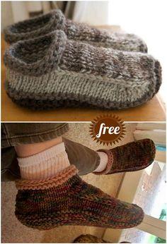 The Cutest Free Knitted Slippers Pattern Ideas Felted Slippers Pattern, Knitted Slippers, Free Knitting Patterns For Women, Knit Patterns, Pattern Sewing, Stitch Patterns, Crochet Socks, Knitting Socks, Knitted Socks Free Pattern