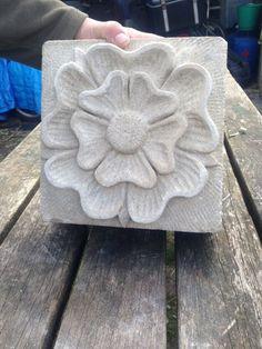 Portland Limestone #sculpture by #sculptor Nicholas Webster titled: 'Tudor Rose (Carved Portland Stone Flower carving)'. #NicholasWebster
