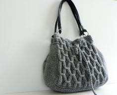OFF 15% NzLbags New - Gray Knit Bag, Handbag - Shoulder Bag, Leather Strap…