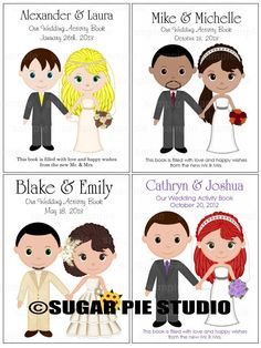 Printable Personalized Wedding coloring activity by SugarPieStudio ...