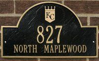 Royals Personalized Arched Address Plaque by Riddell. $74.99. Cast iron personalized team logo address plaque. Garden Plaques, Metal Plaque, Address Plaque, It Cast, Cast Iron, Construction Design, Red Logo, Los Angeles Dodgers, Wall Plaques