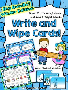 $ #Bundled #Winter #Write and #Wipe Cards: #Pre-Primer to First, plus #Playdough Mats.  Great for #literacy #centers!