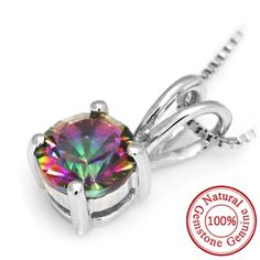 Round Natural Mystic Fire Rainbow Topaz Pendant Only $39.99 => Save up to 60% and Free Shipping => Order Now! #Bracelets #Mystic Topaz #Earrings #Clip Earrings #Emerald #Necklaces #Rings #Stud Earrings