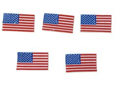 5 pieces American flag USA patriotic Iron on Sew on Embroidered Patch Applique Badge Motif ** Continue to the item at the image link.