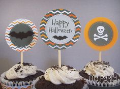 Halloween Chevron Party  PRINTABLE Party Circles by mypartydesign, $8.00