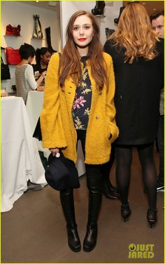 elizabeth olsen yellow coat 2