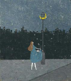Illustration by Akira Kusaka Illustrations, Children's Book Illustration, Akira, Soul Art, Chef D Oeuvre, Art Graphique, Naive, Stars And Moon, Cute Art