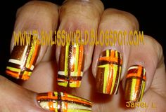 Flawliss Wurld: Freehand Nail Art Experiments: Themed Nail Art: Thanksgiving and Fall Nails Holiday Nail Art, Fall Nail Art, Halloween Nail Art, Back To School Nails, Winter Nails, Fall Nails, November Nails, Thanksgiving Nail Art, Plaid Nails
