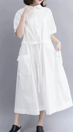 Casual Cotton Maxi Dresses For Women 712 Maxi Dresses, Cotton Dresses, Fashion Dresses, Long Summer Dresses, Summer Skirts, White Linen Dresses, White Dress, Tunic, Casual