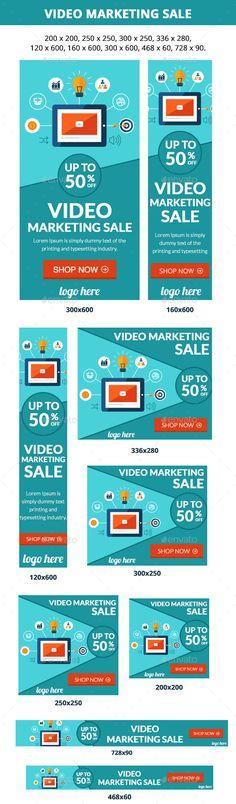Video Marketing Banners Sale Template #design Download: http://graphicriver.net/item/video-marketing-sale/12310403?ref=ksioks