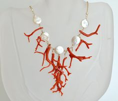 Tribal Necklace Red Coral 5 Fresh Water Coin Pearl di luxurybyvera