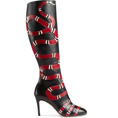 Gucci Leather Snake Knee Boot ($2,250) ❤ liked on Polyvore featuring shoes, boots, footwear, gucci, heels, black, black boots, zipper boots, black leather boots and knee high leather boots