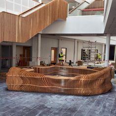 Design company Lazerian designed and made this beautiful reception desk Cardboard Car, Cardboard Furniture, Creative Studio, Creative Design, Brand Store, Flow, Pergola, Reception, Desk