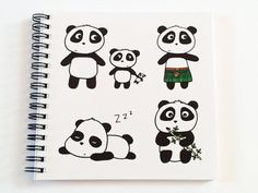 Notebook Panda Gift -Journal -  square size - both ruled and plain paper - wire…