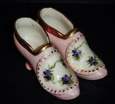 Amazing Miniature Osbourne Ceramic  Shoes Hand Painted Floral Marked