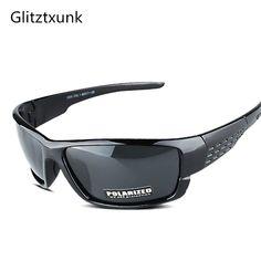 afdc09e4f7 Glitztxunk 2018 nueva marca negro deporte polarizado gafas de sol hombres  mujeres deportes SunglassesOutdoor conducción pesca