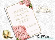 Hydrangea Wedding Invitation Cottage Chic by OldWaysFussNFeathers, $20.00