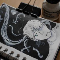 "Because @rambulein is also doing daily drawing challenge now I decided to join her #30daydrawingchallenge and follow her topics of drawings. So for day 2 it was ""something you love"". I love a lot of things but lately I am watching Mushishi (again ) and it is my favourite anime so I decided to draw it   #drawing #sketchbook #ink #inking # mushishi #mushi #ginko #mushishiginko #blackandwhite #watercolordrawing #watercolor #dailydrawing #dailychallenge #instadraw #hellorambu #anime #manga"