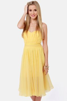 Blaque Label Dress - Strapless Dress - Yellow Dress - $156.00