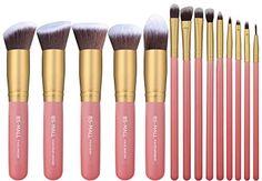 BS-MALL New 14 Pcs Premium Synthetic Kabuki Makeup Brush Set Cosmetics Foundation Blending Blush Eyeliner Face Powder Brush Makeup Brush Kit(golden Pink) BS-MALL