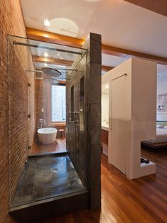 Interior design, decoration, loft, furniture, Loft in Noho - modern - bathroom - new york - JENDRETZKI LLC Modern Bathroom Design, Bath Design, Modern House Design, Bathroom Designs, Loft Design, Design Hotel, Douche Design, Open Bathroom, Loft Bathroom