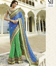 Sari Designer Style Bleu & Vert Eswary
