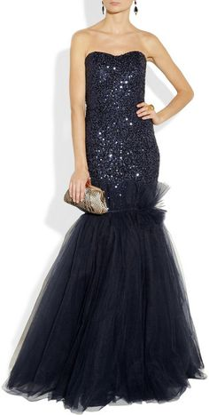 Marchesa Sequined Lace and Tulle Gown