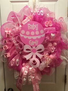 Baby Shower Wreath It's A Girl by ImaginationBG on Etsy