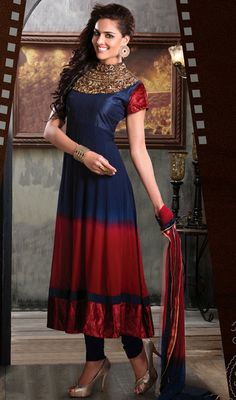 Maroon and Navy Blue Georgette Long Anarkali Suit Price: Usa Dollar $179, British UK Pound £105, Euro131, Canada CA$192 , Indian Rs9666.