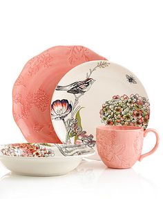 Edie Rose by Rachel Bilson Dinnerware, Hydrangea Mix and Match Collection.  I like the peacock color pieces to mix with this.